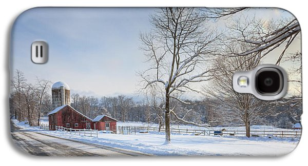 Connecticut Landscape Galaxy S4 Cases - Country Roads Winter Galaxy S4 Case by Bill  Wakeley