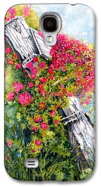 Sunny Mixed Media Galaxy S4 Cases - Country Rose Galaxy S4 Case by Janine Riley