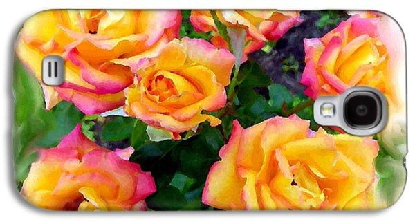 Floribunda Galaxy S4 Cases - Country Roses Watercolor Galaxy S4 Case by Will Borden
