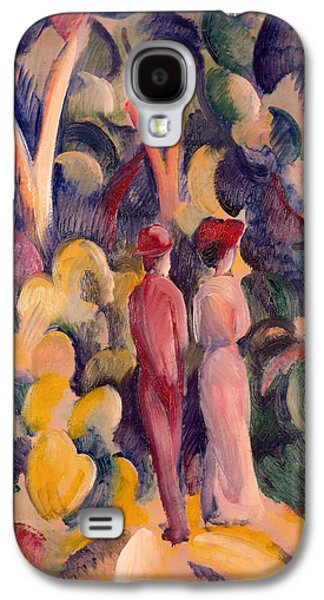 Women Together Paintings Galaxy S4 Cases - Couple on the Forest Track Galaxy S4 Case by August Macke