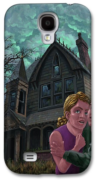 Couple Outside Haunted House Galaxy S4 Case by Martin Davey