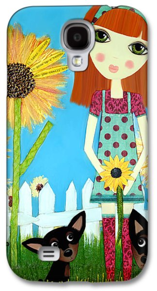 Little Girls Mixed Media Galaxy S4 Cases - Courage 2 Galaxy S4 Case by Laura Bell
