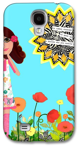 Little Girl Mixed Media Galaxy S4 Cases - Courage Galaxy S4 Case by Laura Bell