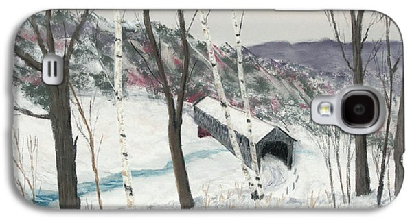 Snow-covered Landscape Pastels Galaxy S4 Cases - Covered Bridge Galaxy S4 Case by George Burr
