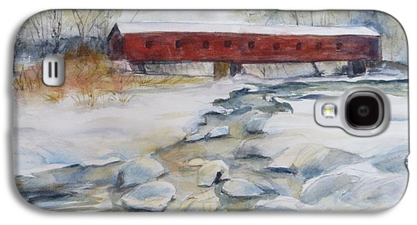 New England Snow Scene Paintings Galaxy S4 Cases - Covered Bridge in Snow Galaxy S4 Case by Heidi Brantley