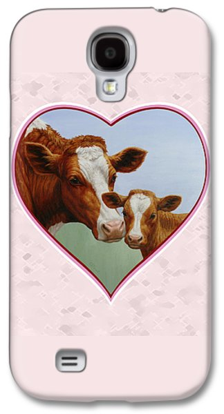 Cow And Calf Pink Heart Galaxy S4 Case by Crista Forest