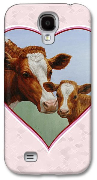 Cows Paintings Galaxy S4 Cases - Cow and Calf Pink Heart Galaxy S4 Case by Crista Forest