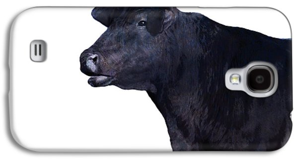 Black Angus Galaxy S4 Cases - Cow on White Galaxy S4 Case by Ann Powell