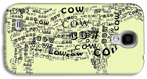 Cow Digital Galaxy S4 Cases - Cow Print Galaxy S4 Case by Heather Applegate