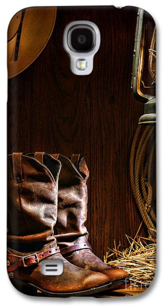 Western Photographs Galaxy S4 Cases - Cowboy Boots at the Ranch Galaxy S4 Case by Olivier Le Queinec