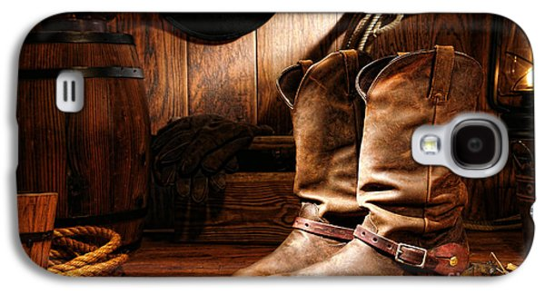 Western Photographs Galaxy S4 Cases - Cowboy Boots in a Ranch Barn Galaxy S4 Case by Olivier Le Queinec