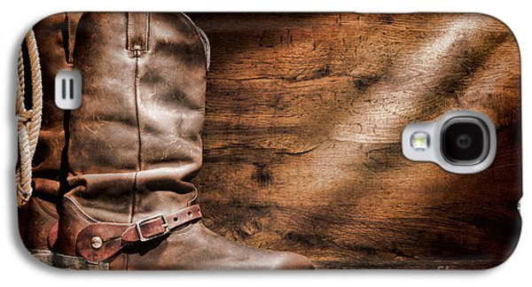 Folklore Galaxy S4 Cases - Cowboy Boots on Wood Floor Galaxy S4 Case by Olivier Le Queinec