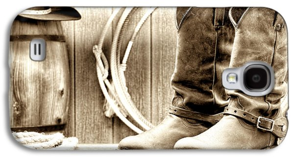 Western Photographs Galaxy S4 Cases - Cowboy Boots Outside Saloon Galaxy S4 Case by Olivier Le Queinec