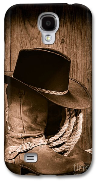 Landmarks Photographs Galaxy S4 Cases - Cowboy Hat and Boots Galaxy S4 Case by Olivier Le Queinec
