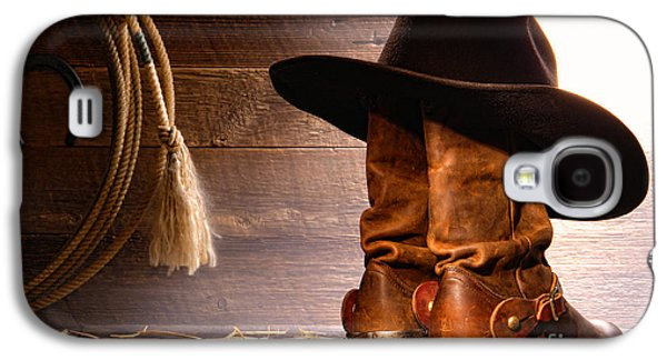 Western Photographs Galaxy S4 Cases - Cowboy Hat on Boots Galaxy S4 Case by Olivier Le Queinec