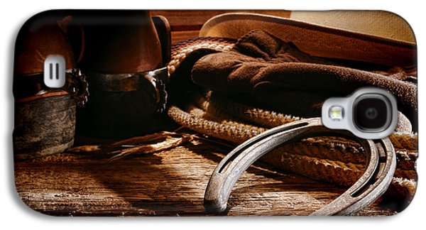Western Photographs Galaxy S4 Cases - Cowboy Horseshoe Galaxy S4 Case by Olivier Le Queinec