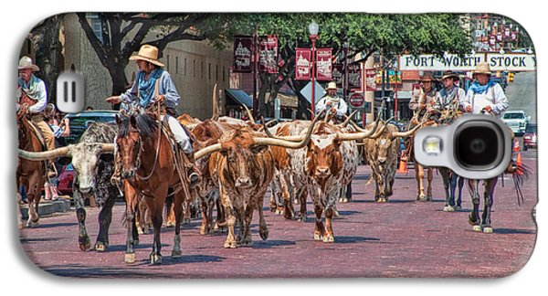 Steer Galaxy S4 Cases - Cowtown Cattle Drive Galaxy S4 Case by David and Carol Kelly