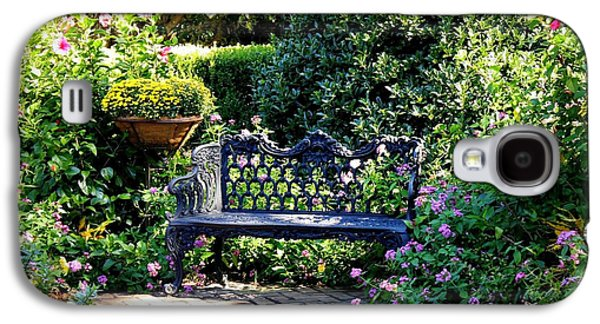 Quiet Time Galaxy S4 Cases - Cozy Southern Garden Bench Galaxy S4 Case by Carol Groenen