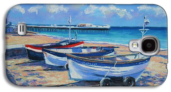 Transportation Pastels Galaxy S4 Cases - Crab Boats on Cromer Beach Galaxy S4 Case by John Clark