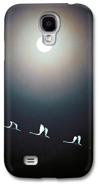 Vertical Flight Galaxy S4 Cases - Cranes Flying Across The Moon Galaxy S4 Case by Panoramic Images