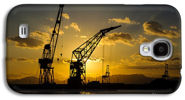 Machinery Galaxy S4 Cases - Cranes in the sunset Galaxy S4 Case by David Hill