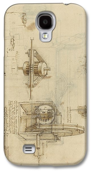 Crank Spinning Machine With Several Details Galaxy S4 Case by Leonardo Da Vinci