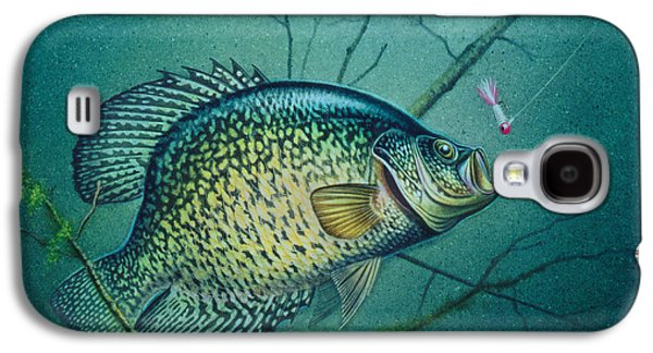 Cabins Galaxy S4 Cases - Crappie and Pink Jig Galaxy S4 Case by Jon Q Wright