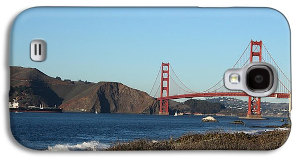 Architecture Mixed Media Galaxy S4 Cases - Crashing Waves and the Golden Gate Bridge Galaxy S4 Case by Linda Woods