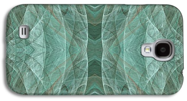 Abstract Digital Mixed Media Galaxy S4 Cases - Crashing Waves Of Green 1 - Panorama - Abstract - Fractal Art Galaxy S4 Case by Andee Design