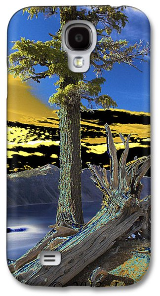 Nature Abstract Pyrography Galaxy S4 Cases - Crater Lake Galaxy S4 Case by Jacob Sela