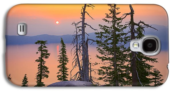 Peaceful Scenery Galaxy S4 Cases - Crater Lake Trees Galaxy S4 Case by Inge Johnsson