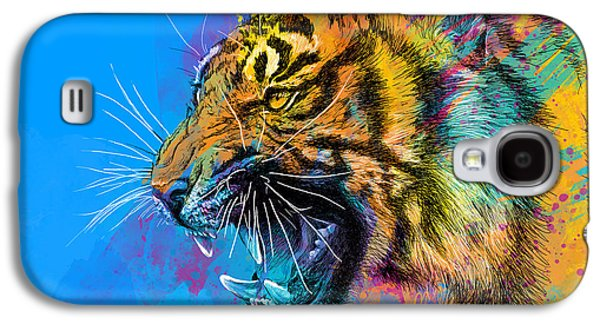Print Mixed Media Galaxy S4 Cases - Crazy Tiger Galaxy S4 Case by Olga Shvartsur