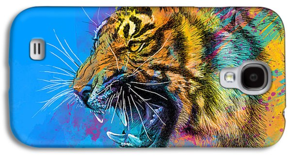 Vibrant Galaxy S4 Cases - Crazy Tiger Galaxy S4 Case by Olga Shvartsur