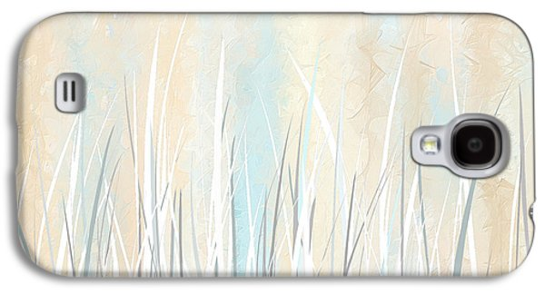 Beige Abstract Galaxy S4 Cases - Cream and Teal Art Galaxy S4 Case by Lourry Legarde