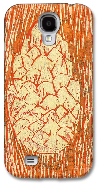 Lino Mixed Media Galaxy S4 Cases - Creamy Pine Cone Galaxy S4 Case by Amanda And Christopher Elwell