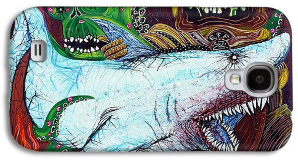 Shark Paintings Galaxy S4 Cases - Creatures Of The Deep Galaxy S4 Case by Laura Barbosa