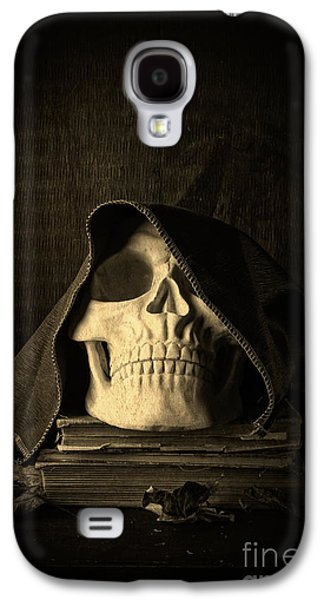 Creepy Galaxy S4 Cases - Creepy Hooded Skull Galaxy S4 Case by Edward Fielding