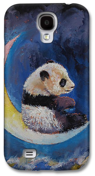 Night Sky Paintings Galaxy S4 Cases - Crescent Moon Galaxy S4 Case by Michael Creese