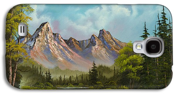 Sawtooth Mountain Paintings Galaxy S4 Cases - Crimson Mountains Galaxy S4 Case by C Steele