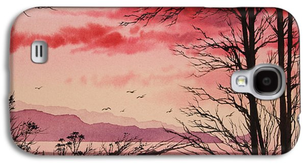 Sunset Greeting Cards Galaxy S4 Cases - Crimson Shore Galaxy S4 Case by James Williamson