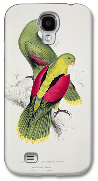 Feather Drawings Galaxy S4 Cases - Crimson Winged Parakeet Galaxy S4 Case by Edward Lear