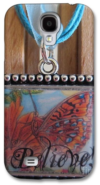 Animals Jewelry Galaxy S4 Cases - Believe...a Colorful Butterfly Lights Upon a Tiger Lily in a Necklace Galaxy S4 Case by Kimberlee  Baxter