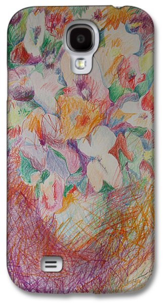 Basic Drawings Galaxy S4 Cases - Cross Hatch of Flowers Galaxy S4 Case by Esther Newman-Cohen
