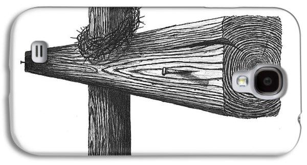 Saviour Drawings Galaxy S4 Cases - Cross Of Jesus Galaxy S4 Case by Adam Vereecke