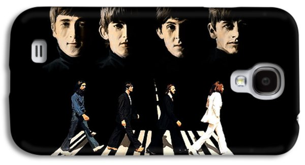 Beatles Drawings Galaxy S4 Cases - Crossing Into History The Beatles  Galaxy S4 Case by Iconic Images Art Gallery David Pucciarelli