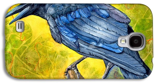 Crows Black Paintings Galaxy S4 Cases - Crow Call Galaxy S4 Case by Marie Stone Van Vuuren