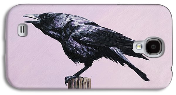 Caws Paintings Galaxy S4 Cases - Crow iPhone Case Galaxy S4 Case by Crista Forest