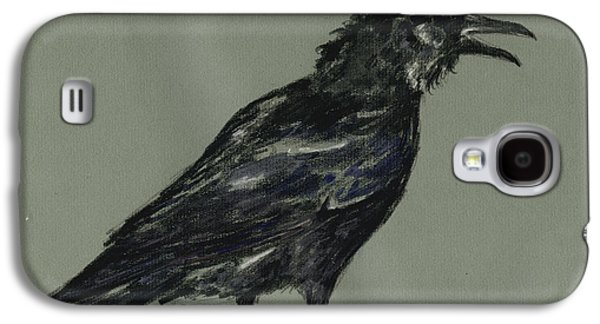 Crows Paintings Galaxy S4 Cases - Crow Galaxy S4 Case by Juan  Bosco