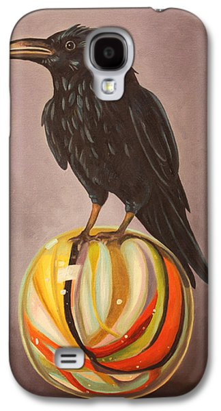 Crows Paintings Galaxy S4 Cases - Crow On Marble Galaxy S4 Case by Leah Saulnier The Painting Maniac