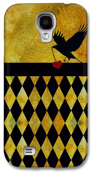 Crows Galaxy S4 Cases - Crow Stole My Heart on Golden Diamonds Galaxy S4 Case by Jenny Armitage